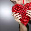 Hand made red heart — Stock Photo #19543413