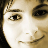 Beautiful young woman face. — Stock Photo