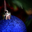 Foto Stock: Christmas ornaments on tree.