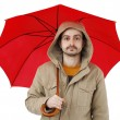 Man with umbrella — Stockfoto