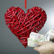 Hand made red heart — Stock Photo #28012475