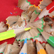 Pencils and wood shavings — Stock Photo