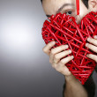 Hand made red heart — Stock Photo