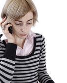 Woman talking on phone — Stock Photo