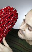 Corazón rojo hecho a mano — Foto de Stock