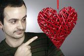 Hand made red heart — Foto de Stock