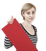 Woman holding a paper — ストック写真
