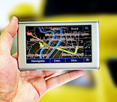 Gps in a man hand. — Stock Photo