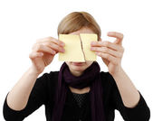 Woman and post it — Stock Photo