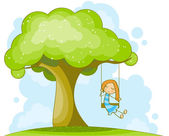 On the swing — Stock Vector