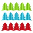Paper Xmas trees — Stock Vector