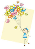 Dívka s motýly — Stock vektor