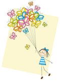 女孩与蝴蝶 — 图库矢量图片