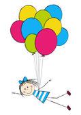 女孩与气球 — 图库矢量图片
