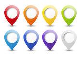 Yuvarlak 3d harita işaretçiler kümesi — Stok Vektör
