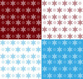 Set of snowflake seamless patterns — Stock Vector