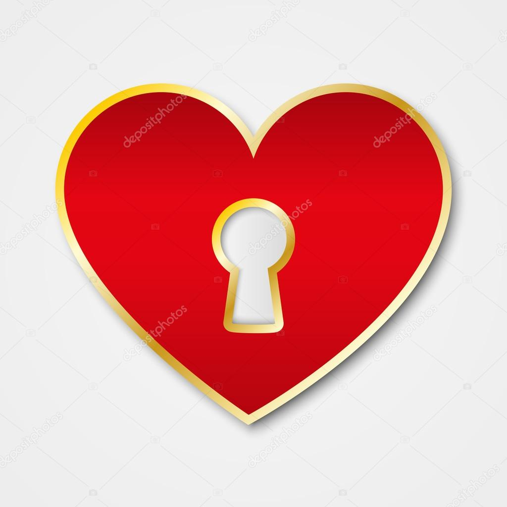 Paper red heart with keyhole — Stock Vector #13526048