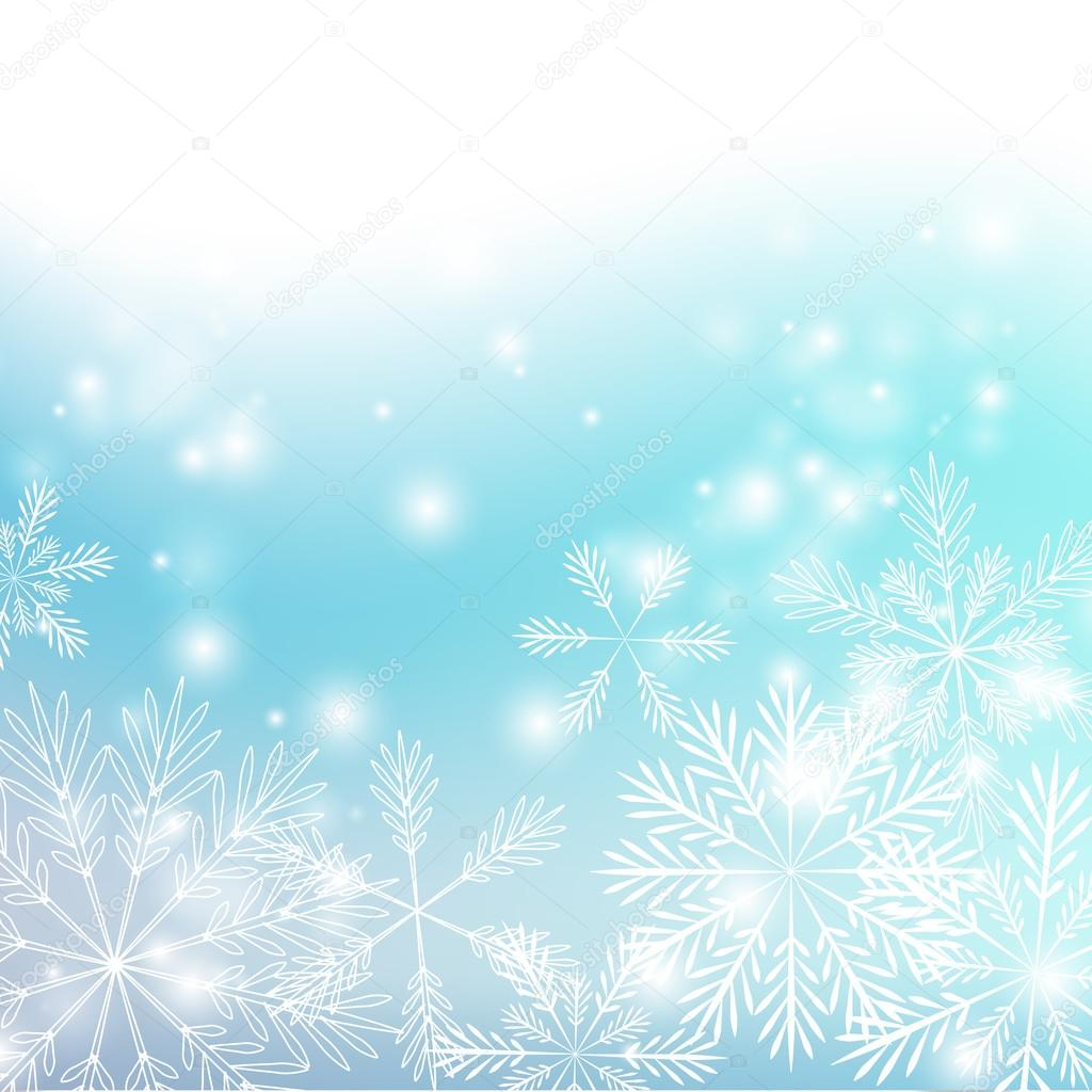 Snowflakes background with shiny lights  Imagen vectorial #13526068