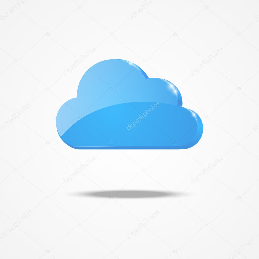 Glossy blue cloud icon with light — Stock Vector #13549827