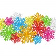 Color paper snowflakes background — Vector de stock