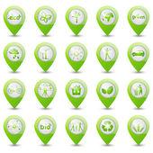 Conjunto de ponteiros de mapa de ecologia — Vetorial Stock