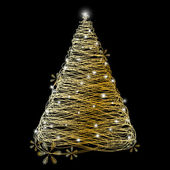 Golden Christmas tree — Stockvector