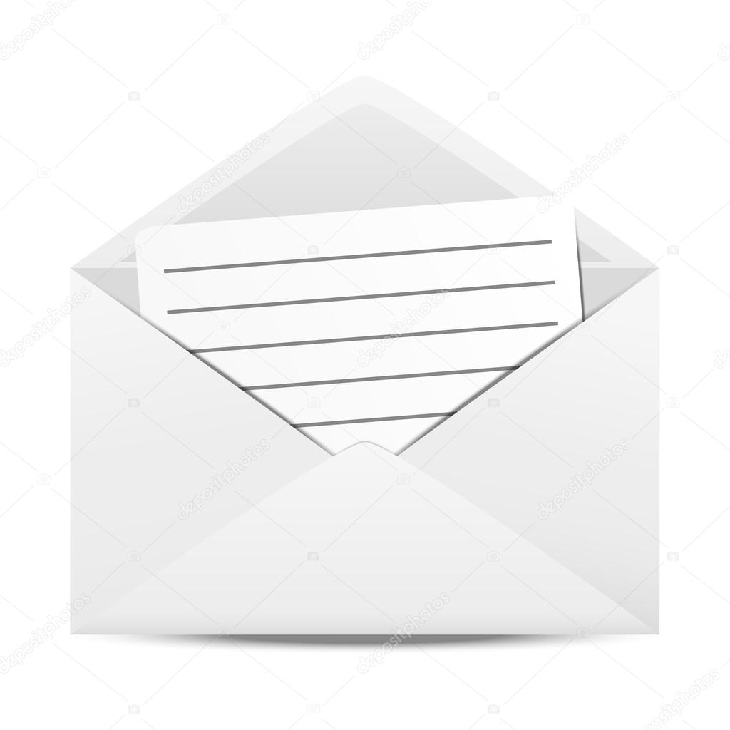Envelope with sheet of paper  Stock Vector #14761613