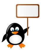 Cute penguin with banner — Stock Vector