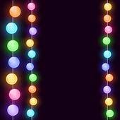 Carte de noël avec des lumières — Vecteur