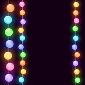 Tarjeta de navidad con luces — Vector de stock
