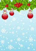 Christmas holly background with place for text — Stock Vector