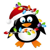 Penguin with Christmas light bulbs — Stock Vector
