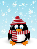 Cute penguin with scarf — Stock Vector