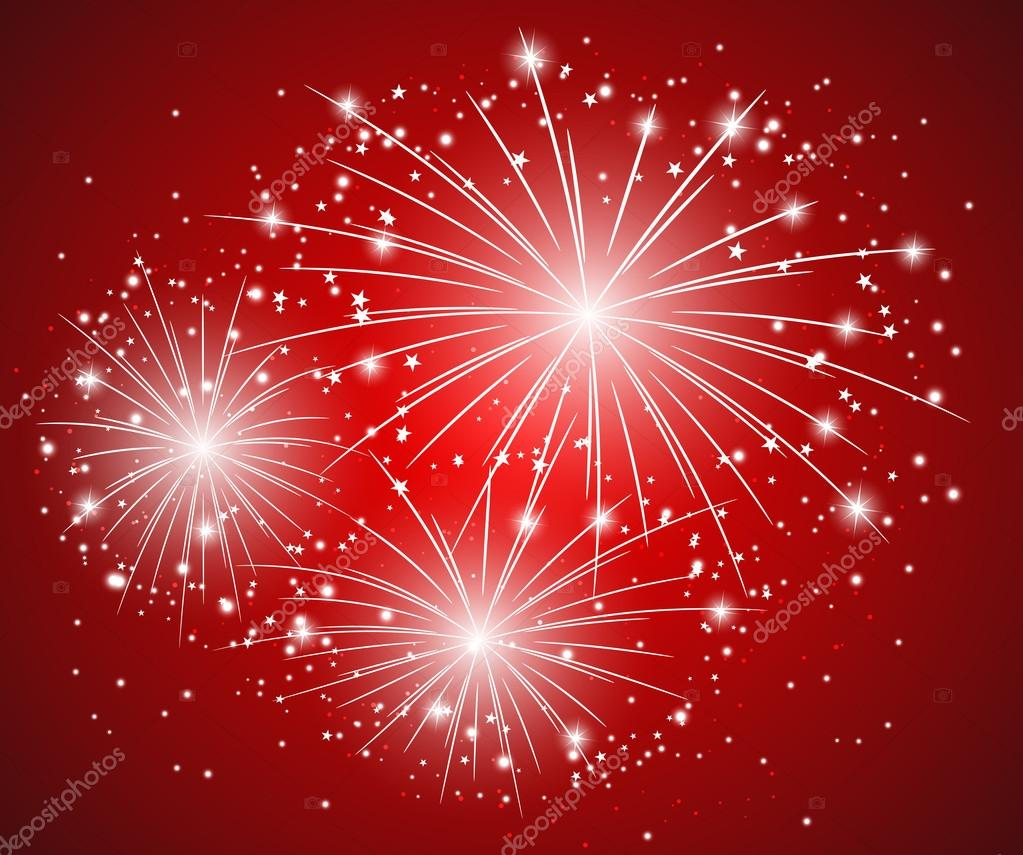 Red starry firework - vector illustration — Stock Vector #16625603