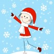 Funny girl on winter background - Image vectorielle