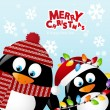 Vettoriale Stock : Merry Christmas two penguins