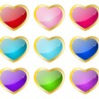 Heart glossy icons - Stock Vector