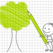 Drawing green tree — Stok Vektör #19112495