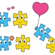 Puzzle characters in love — Stock Vector