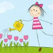 Cute girl watering pink tulips - Stockvectorbeeld
