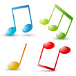 Set of glossy musical note icons — Stock Vector