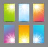 Dikey güneşli afiş kümesi — Stok Vektör