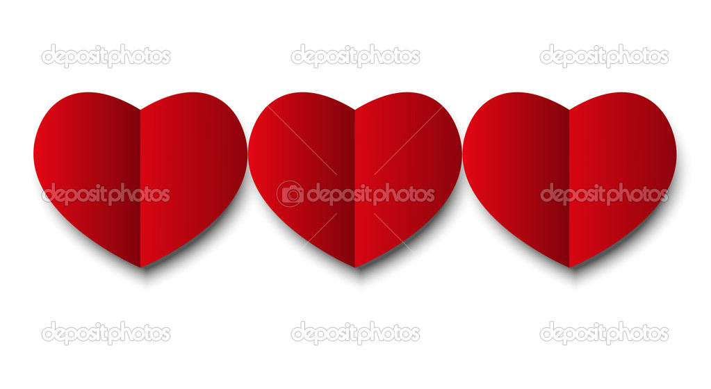 Paper hearts isolated on white  Imagen vectorial #19814327