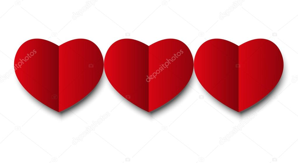 Paper hearts isolated on white — Image vectorielle #19814327