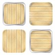 Set of wooden apps icons — Stock Vector