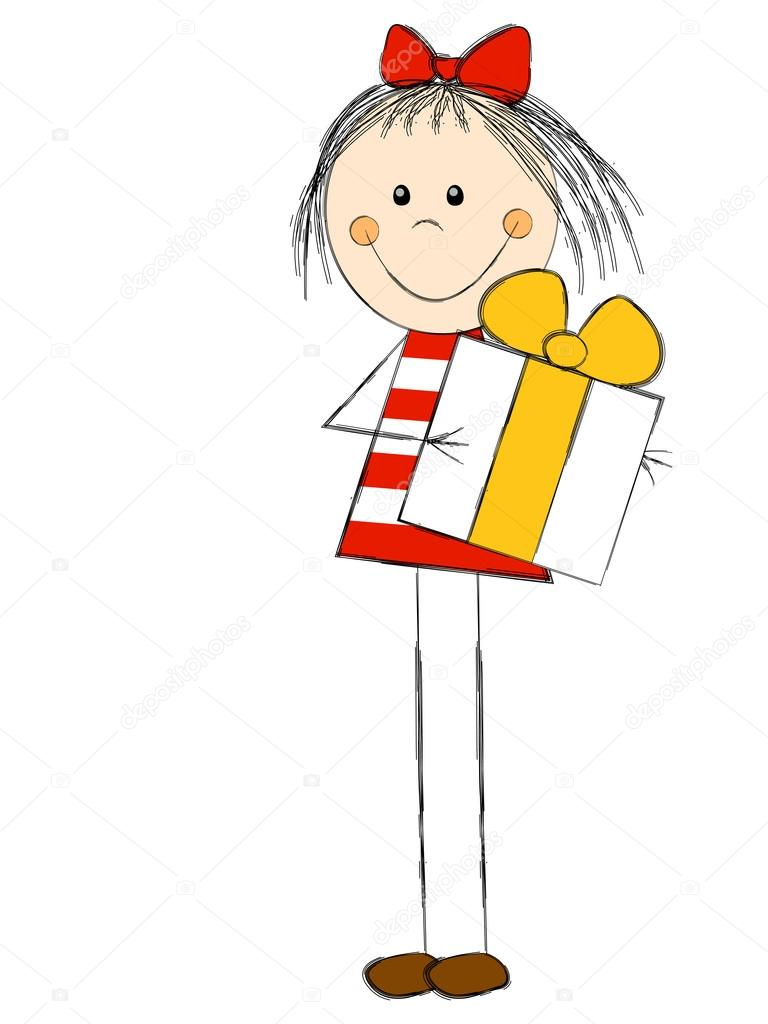 Cute girl with t box stock illustration