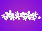 Paper flowers on purple background — Stock Vector