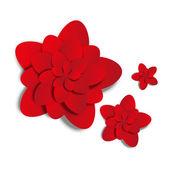 Fleurs en papier rouge sur blanc — Vecteur
