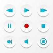 Set of vector media player buttons — Cтоковый вектор