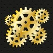 Stock Vector: Golden gears background